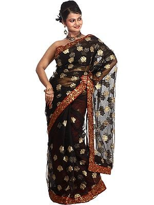 Black Designer Sari with Metallic-Thread Embroidered Sequins and Patch Border