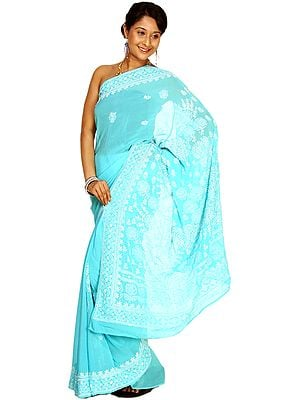 Blue Atoll Chikan Sari From Lucknow with Hand Embroidered Flowers All-Over