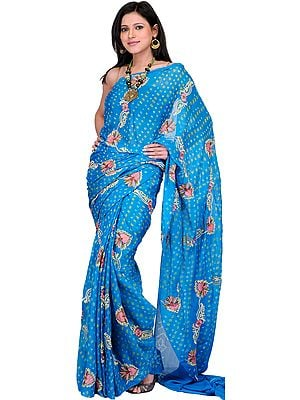 Caribbean-Sea Bandhani Sari with Embroidered Flowers All-Over