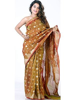 Dark-Goldenrod Jamdani Sari from Banaras with All-Over Flowers Woven in Jute and Zari
