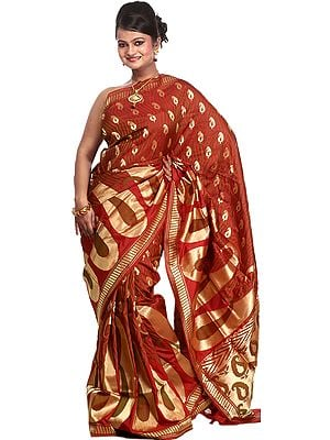 Garnet Red Banarasi Sari with Handwoven Giant Paisleys All-Over and Brocaded Aanchal