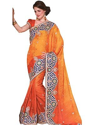Ginger-Orange Wedding Sari with Heavy Patch Border and Self Weave