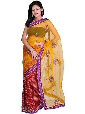 Golden-Glow Wedding Sari with Woven Bootis and Embroidered Paisleys