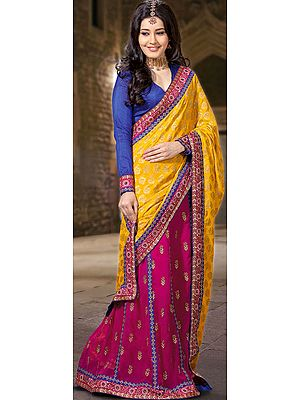 Golden-Rod and Fuchsia Designer Sari with Brocade Weave and Patch Border