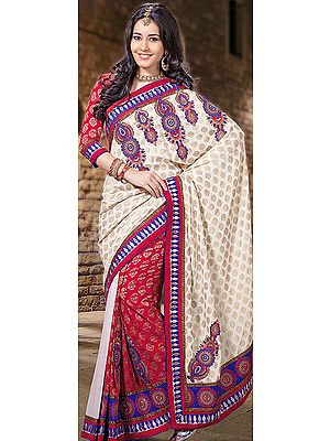 Ivory and Red Designer Sari with Metallic Thread Embroidery and Brocaded Bootis