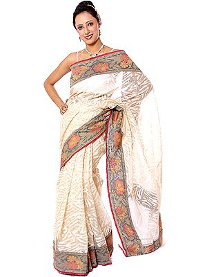 Ivory Handwoven Sari from Banaras with Multi-Color Floral Brocaded Border