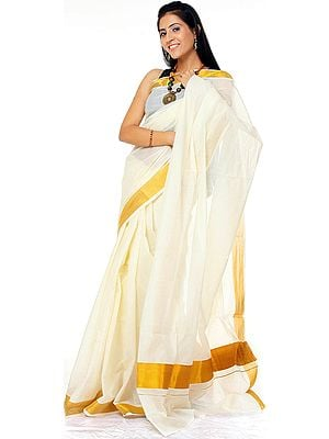 Ivory Kasavu Puja Sari from Kerala with Golden Border