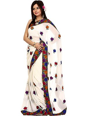 Ivory Wedding Sari with Parsi Embroidered Flowers All-Over