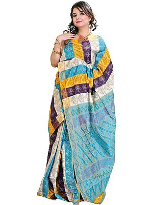 Multi-Colored Ikat Sari from Pochampally with Hand-Woven Elephants