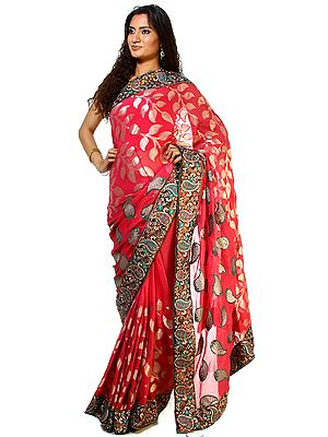 Pink-Flambe Shimmer Sari with Patch Paisley Border and Woven Leaves