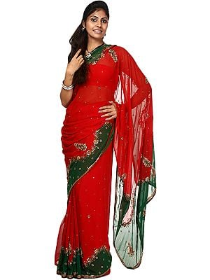 Pompeian-Red and Green Designer Sari with Embrodiered Beads and Crystals