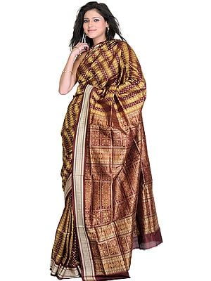 Puce Bomkai Sari with Dense Weave on Anchal and All-Over Bootis