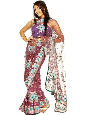 Purple Passion Net Sari with All-Over Floral Ari Embroidery and Sequins