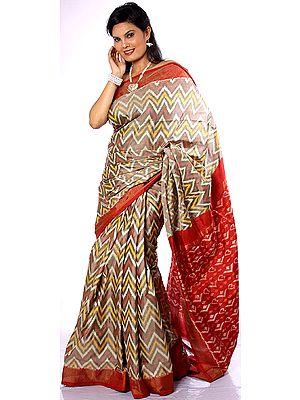 Rainbow Double Ikat Sari Hand-woven in Pochampally Village with Tissue Border