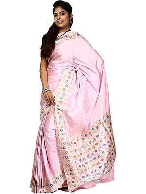 Rose-Shadow Banarasi Sari with Floral Border and Brocaded Aanchal Woven by Hand