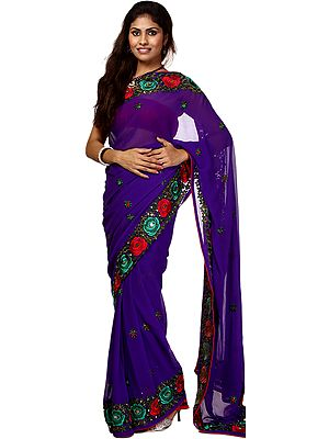 Royal-Purple Sari with Parsi Embroidered Roses on Border