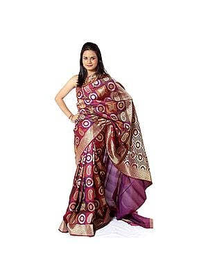 Multi-Color Designer Sari from Banaras with Woven Motifs All-Over