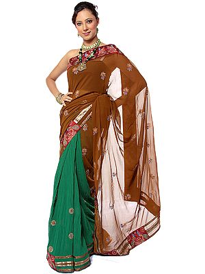 Sepia and Green Designer Patli Sari with Sequins Embroidered as Flowers