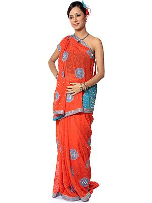 Orange Sari with Cyan Sequins and Beadwork by Hand All-Over