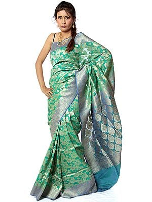 Green Jamdani Sari from Banaras with Woven Flowers in Golden Thread
