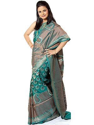 Teal Banarasi Sari with Paisleys Floating in Woven Tides