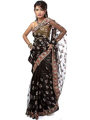 Black Shimmer Sari with Embroidered Bootis All-Over