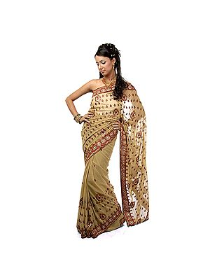 Beige Sari with Patch Border and Embroidered Bootis All-Over