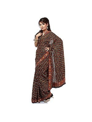 Black Bandhani Sari with Hand-Embroidered Rabari Patch Border