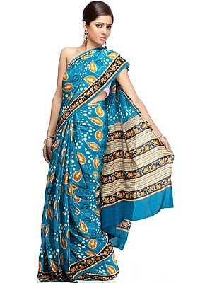 Blue Suryani Sari from Mysore with Printed Leaves