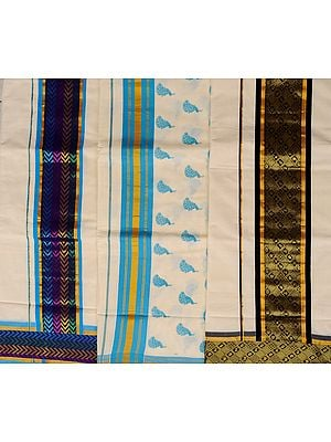 Lot of Three Handwoven Kasavu Saris from Kerala with Golden Thread Weave