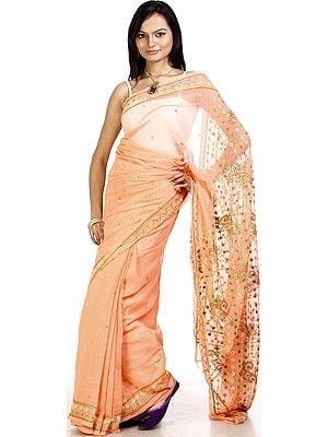 Salmon Sari from Lucknow with Embroidered Flowers