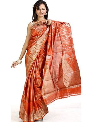 Rust Mysore Silk Sari with Giant Hand-woven Paisleys