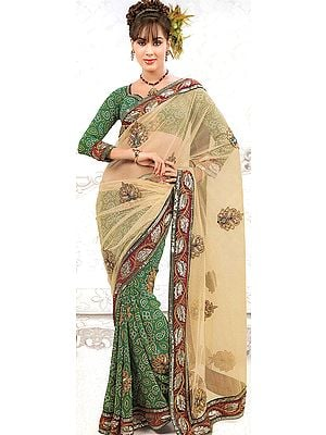 Light-Green Bandhani Printed Sari with Patch-work and Embroidered Sequins