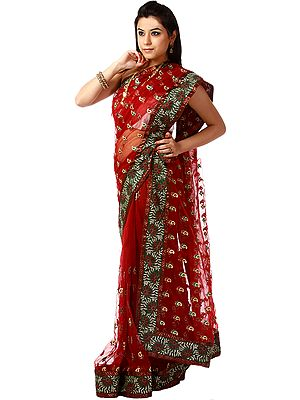 Bridal Red Shimmer Sari with Patch Border and Ari Embroidered Paisleys