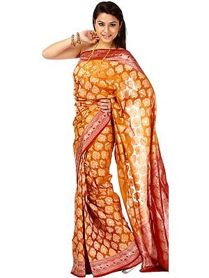 Golden-Oak Jamdani Sari from Banaras with Hand-Woven Bootis and Brocaded Border and Pallu