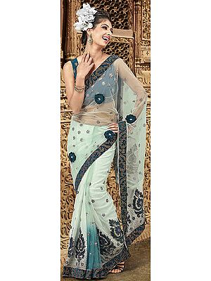 Pale-Green Wedding Sari with Patch Border and Embroidered Sequins