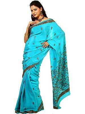 Atoll-Blue Kashmiri Crepe Silk Sari with Sozni Embroidery