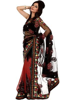 Black and Cordovan Designer Sari with Parsi Embroidered Flowers and Sequins