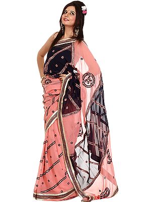 Peach and Purple Designer Sari with Embroidered Sequins