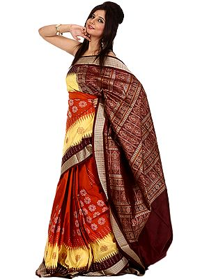 Tri-Color Designer Bomkai Sari with Woven Flowers and Rudraksha Border