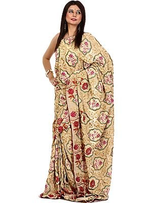 Beige Designer Jamdani Sari with Dense Heavy Embroidery All-Over