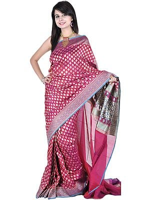 Carmine-Purple Banarasi Sari with All-Over Woven Bootis and Brocaded Aanchal