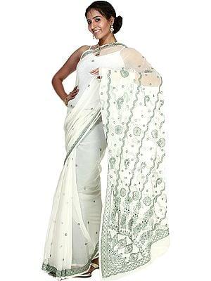 Chic-White Sari with Lukhnavi Chikan Embroidered Flowers