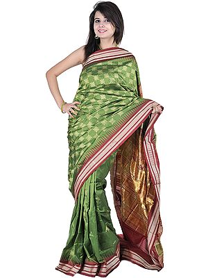Vineyard-Green Bomkai Sari from Orissa with Woven Bootis and Box Weave on Pallu