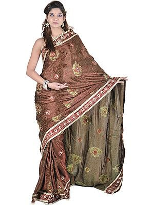 Cordovan Sari with All-Over Weave in Self and Large Embroidered Bootis