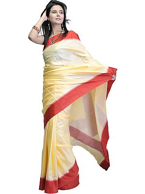 Plain Chamomile-Cream Puja Sari with Wide Red Border