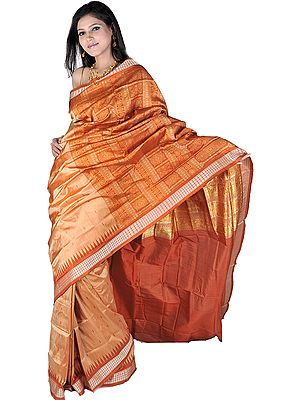 Golden Brown Bomkai Handloom Sari from Orissa with Woven Bootis and Rudraksha Border