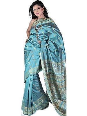 Bright Aqua-Green Baluchari Sari from Bengal with Hand Woven Dancing Apsaras on Aanchal