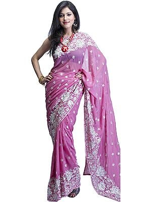 Lilac-Pink Designer Sari with Metallic Thread Embroidered Flowers and Sequins