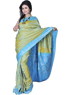Moss-Green and Blue Banarasi Sari with Handwoven Paisleys and Temple Border